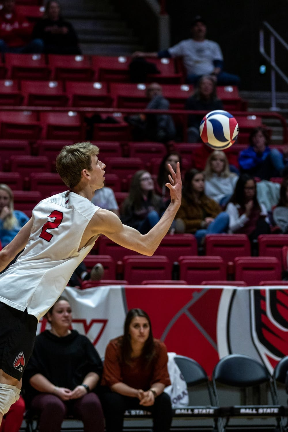 <p>Ball State Sophomore, Kaleb Jenness (2) winds up to serve in the second set of the matchup against Mckendree University Feb. 13, 2020, at John E. Worthen Arena. The Cardinals took down the Bearcats in a tight matchup, 3-1. <strong>Paul Kihn, DN</strong></p>