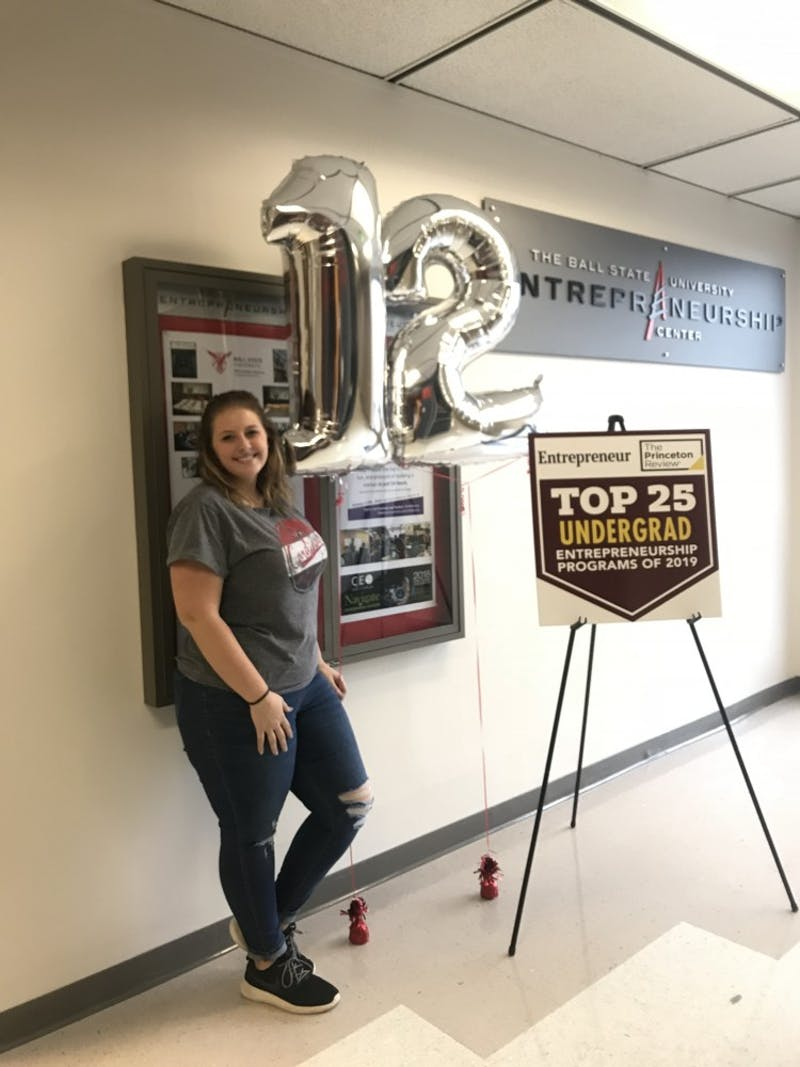 Entrepreneurship major Kyli Penrod poses in front of balloons and signs celebrating the Ball State program's ranking. The entrepreneurship program is ranked 12th in the nation by the Princeton Review and Entrepreneur magazine. Kyli Penrod, Photo Provided