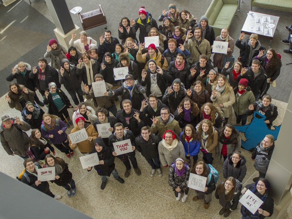 Students gather in the Letterman Building for a farewell photo to David Letterman on February 20th. DN PHOTO JESSICA LYLE