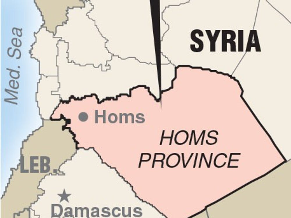 Map locating Homs Province Syria where Russia carried out first airstrikes.
