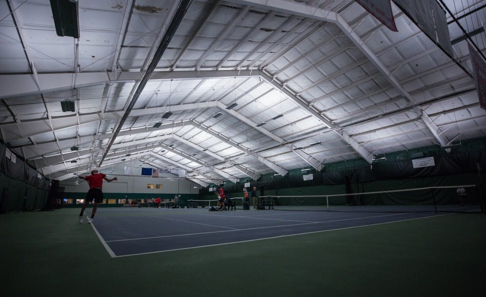 <p>Ball State's mens tennis plays singles matches against the University of Toledo. Ball State won 5 to 2 on March 24 at Northwest YMCA in Muncie. <strong>Eric Pritchett, DN</strong></p>