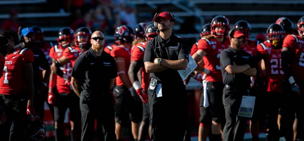 <p>Ball State Football head coach Mike Neu and his team watch the jumbotron in a game against Florida Atlantic at Scheumann Stadium Sept. 14, 2019. The Cardinals lost to the Owls, 41-31. <strong>Jacob Musselman, DN</strong></p>