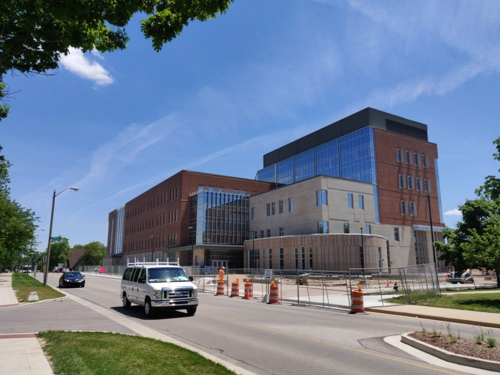 The Health Professions Building is seen on Riverside Avenue during the summer 2019 semester. Ball State's COVID-19 vaccination clinic is open in the Health Professions Building Wednesdays and Fridays. Rohith Rao, DN File