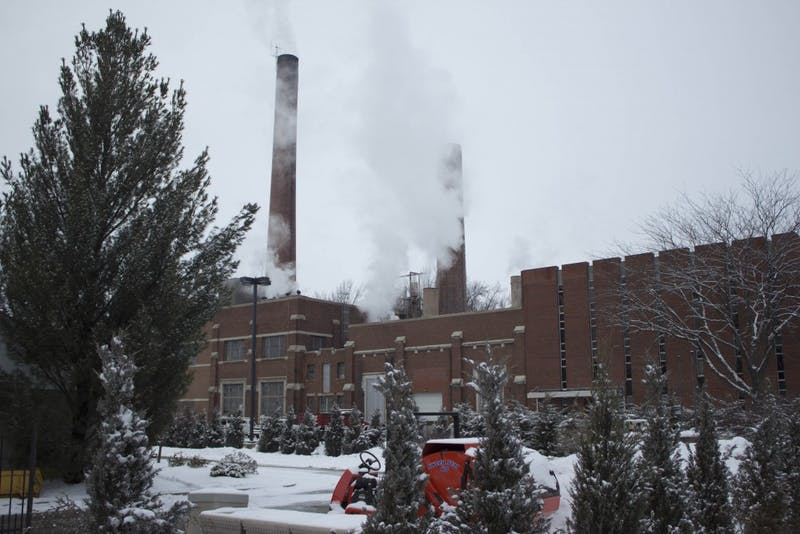 Smoke billows from the coal plant on Ball State