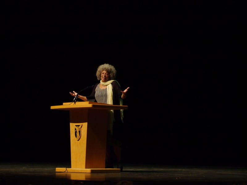 Angela Davis speaks in John R. Emens Auditorium on Sept. 22 to mark the relaunch the African American Studies program at Ball State. The event was free and open to the public. Kai Cohen, DN