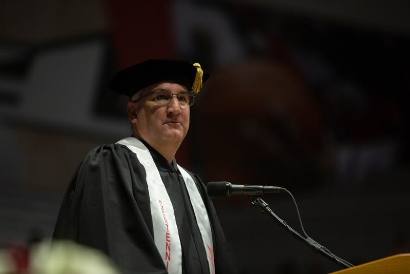 Indiana Gov. Eric Holcomb gives a speech during the spring 2019 commencement May 4, 2019, in John E. Worthen Area. Holcomb urged Ball State graduates to stay in Indiana. Scott Fleener, DN