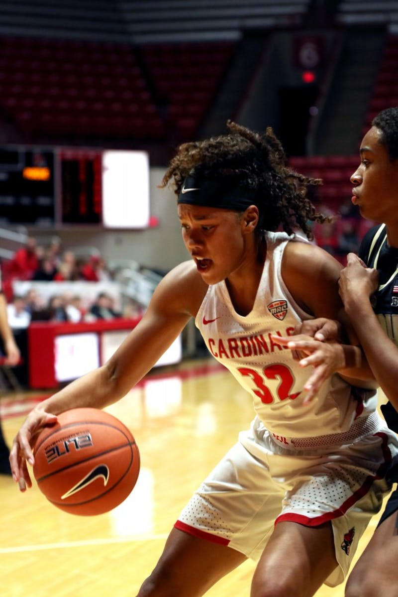 Sophomore forward Oshlynn Brown attempts to score at the Ball State vs Purdue Women's Basketball game Wednesday, Nov. 7 at John E. Worthen Arena. Brown had 11 points against the Boilermakers. Jacob Haberstroh,DN