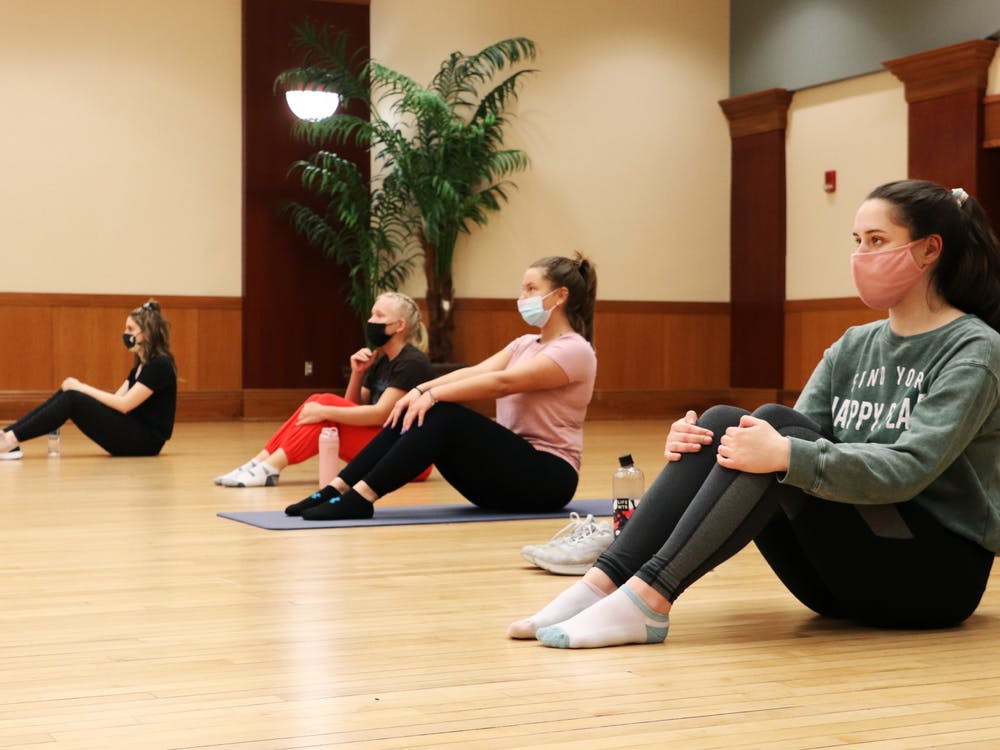 (Left to right) Lily Staatz, Megan Thomas, Choe Freeman and Colleen Dyra sit before a workout for Ball State's chapter of CHAARG March 18, 2021, in the L.A. Pittenger Student Center. Due to COVID-19 limitations, the organization only meets once a month for in-person workouts. Rylan Capper, DN