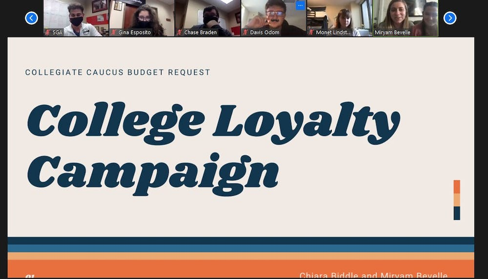 <p>Senators Chiara Biddle and Miryam Bevelle present their proposed college loyalty campaign at the SGA Zoom meeting on Oct. 21, 2020. The campaign passed 42-0, with four abstentions, and will allow students to give feedback on their respective colleges. <strong>Maya Wilkins, Screenshot Capture</strong></p>