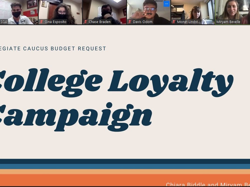 Senators Chiara Biddle and Miryam Bevelle present their proposed college loyalty campaign at the SGA Zoom meeting on Oct. 21, 2020. The campaign passed 42-0, with four abstentions, and will allow students to give feedback on their respective colleges. Maya Wilkins, Screenshot Capture