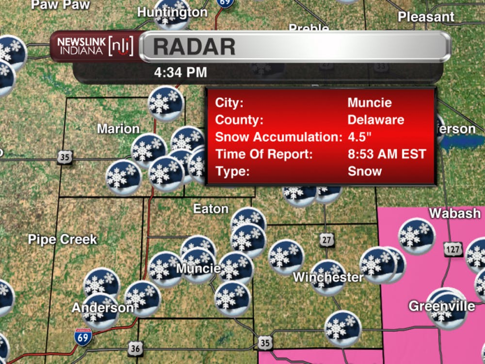 "Snowfall report of 4.5"" from Muncie in Delaware county."