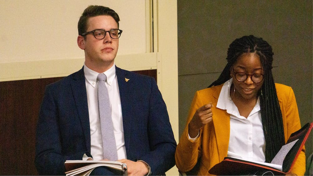 <p>Student Government Association (SGA) President Connor Sanburn and Vice President Jordyn Blythe express their opinions during the SGA debate Feb. 10, 2020. Sanburn said Bold slate members will work on some platform points over winter break. <strong>John Lynch, DN</strong></p>