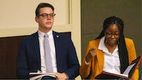 Student Government Association (SGA) President-elect Connor Sanburn and Vice President-elect Jordyn Blythe, express their opinions during the SGA debate Feb 10, 2020. SGA elections will now be using a rank choice voting system reducing the possibility of a second round of elections. John Lynch, DN
