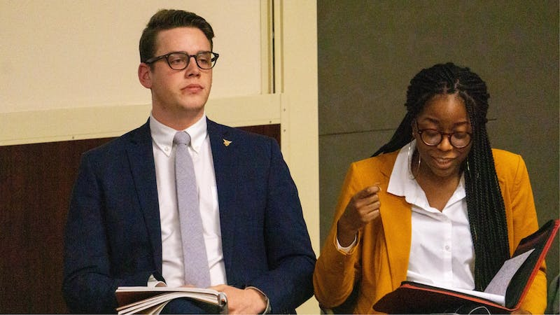 Student Government Association (SGA) President Connor Sanburn and Vice President Jordyn Blythe express their opinions during the SGA debate Feb. 10, 2020. Sanburn said Bold slate members will work on some platform points over winter break. John Lynch, DN