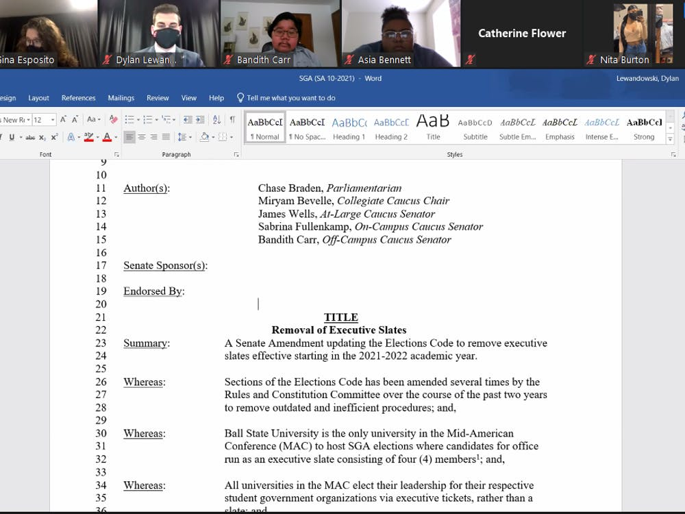 SGA senators look at the amendment proposing to remove the executive slate at the Feb. 17 hybrid meeting. The senate voted to table the amendment by a vote of 29-1, with one abstention. Maya Wilkins, Screenshot Capture