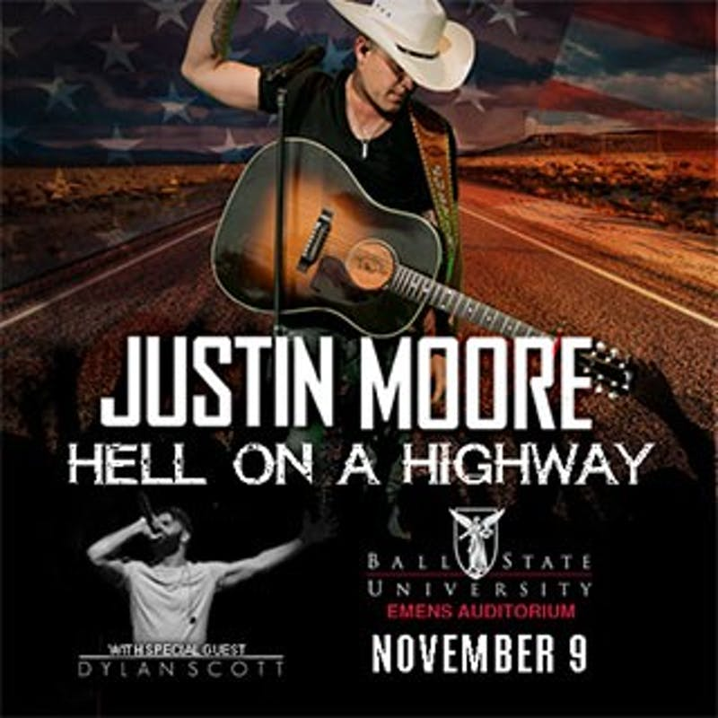Justin Moore will be performing at 7:30 p.m. on Nov. 9 in John R. Emens Auditorium. The opening act for Moore's fourth headlining tour is another country singer, Dylan Scott. Ball State, Photo Provided