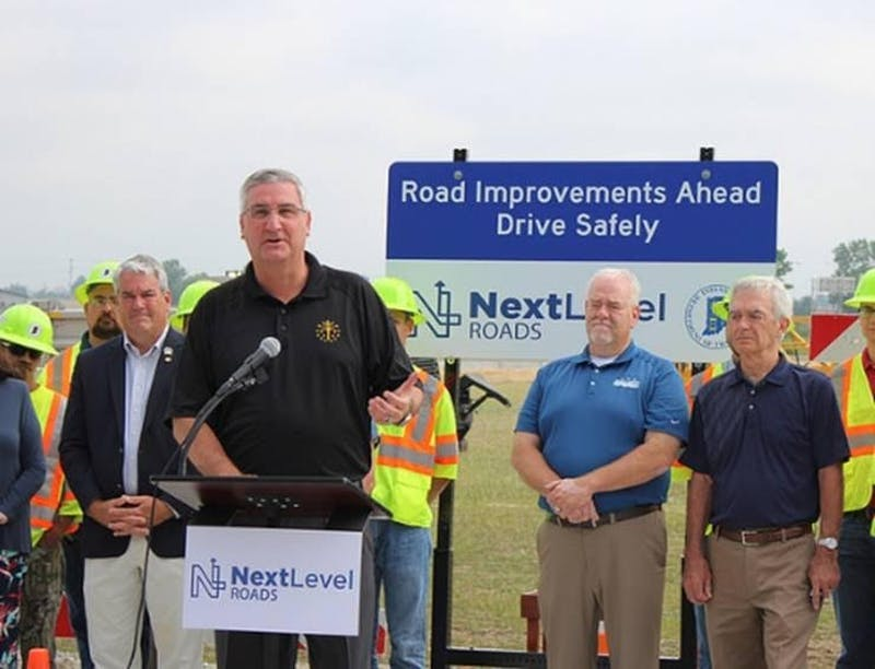 Gov. Eric Holcomb presenting and explaining some of the benefits of the Next Level Roads Plan. Photo Provided