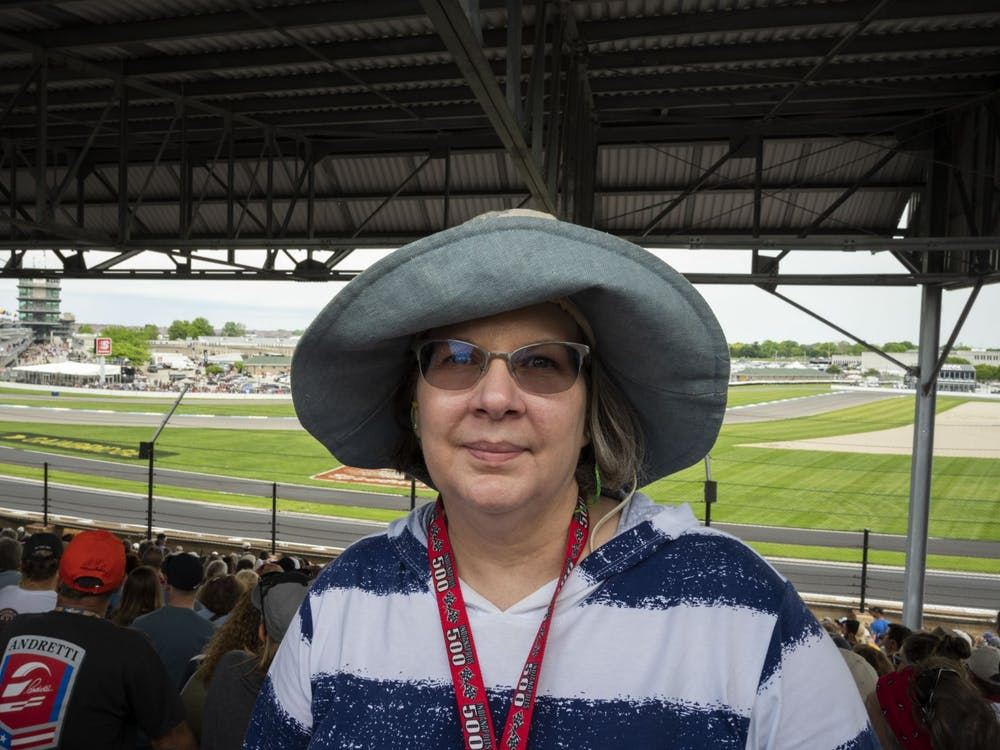 Jacquelyn Buckrop stands at her seats for the Indianapolis 500 May 26, 2019, at Indianapolis Motor Speedway. With the exception of 2020, Buckrop has only missed one Indy 500 since 1974. Stephanie Amador, DN