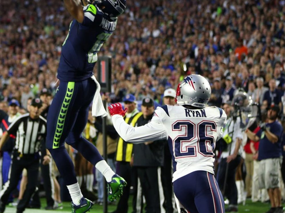 Seahawks wide receiver Chris Matthews catches an 11-yard touchdown catch during the second quarter as the Seattle Seahawks take on the New England Patriots in Super Bowl XLIX at University of Phoenix Stadium on Sunday, February 1, 2015 in Glendale, Ariz. (Bettina Hansen/Seattle Times/TNS)
