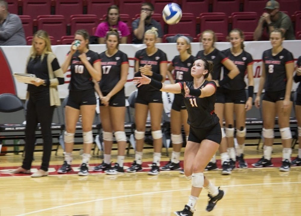 <p>Ball State women's volleyball finished its weekend at the Colorado State University Tournament on Sunday challenging bid No. 16 Michigan. The Cardinals lost in four sets. Briana Hale, DN File</p>
