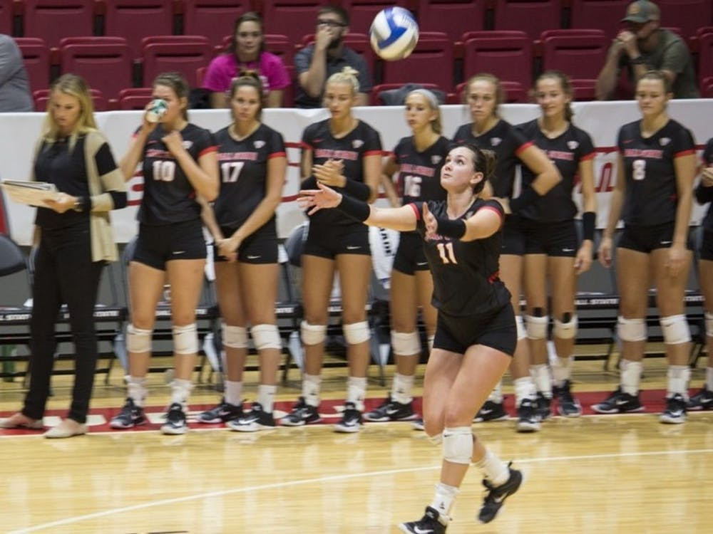 Ball State women's volleyball finished its weekend at the Colorado State University Tournament on Sunday challenging bid No. 16 Michigan. The Cardinals lost in four sets. Briana Hale, DN File