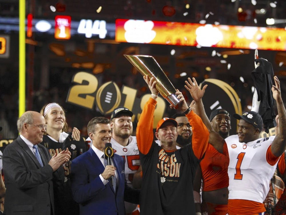 Dabo Swinney and the Clemson Tigers celebrate their 44-16 win over the Alabama Crimson Tide in the 2019 College Football Playoff championship game at Levi's Stadium in Santa Clara, Calif. on Monday, Jan. 7, 2019. (Sean Meagher for AL.com, TNS)