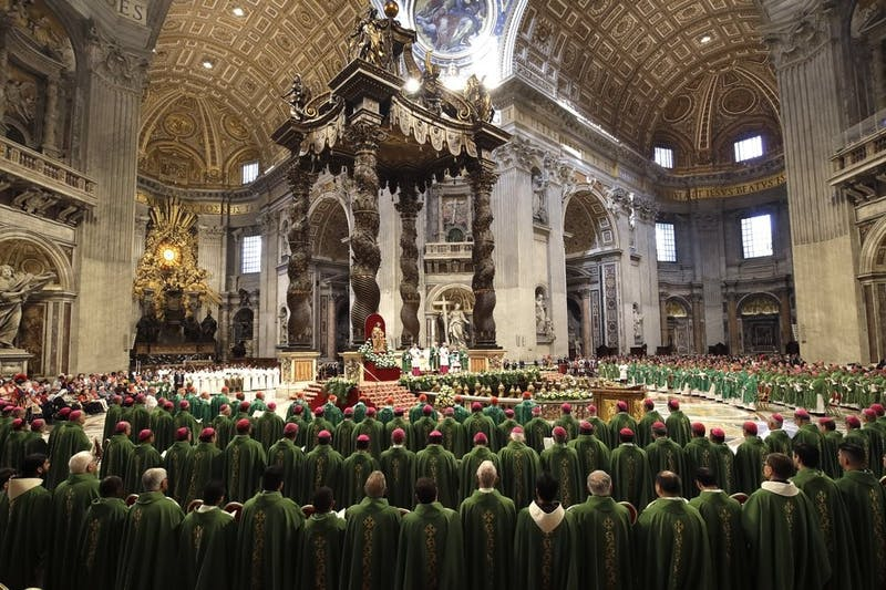 Pope Francis presides over a Mass for the closing of the Amazon synod in St. Peter's Basilica at the Vatican, Sunday, Oct. 27, 2019. (AP Photo/Alessandra Tarantino)