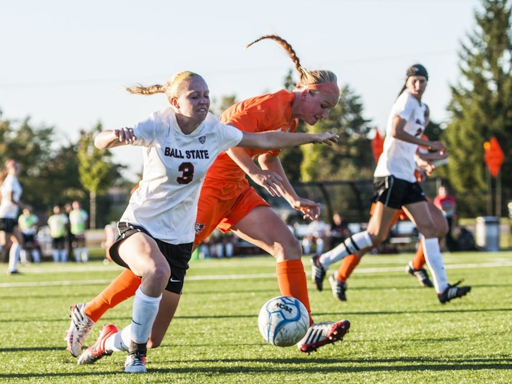 Sophomore defender Leah Mattingly stumbles after the ball during the game against Bowling Green on Sept. 26 at the Briner Sports Complex. DN PHOTO JONATHAN MIKSANEK