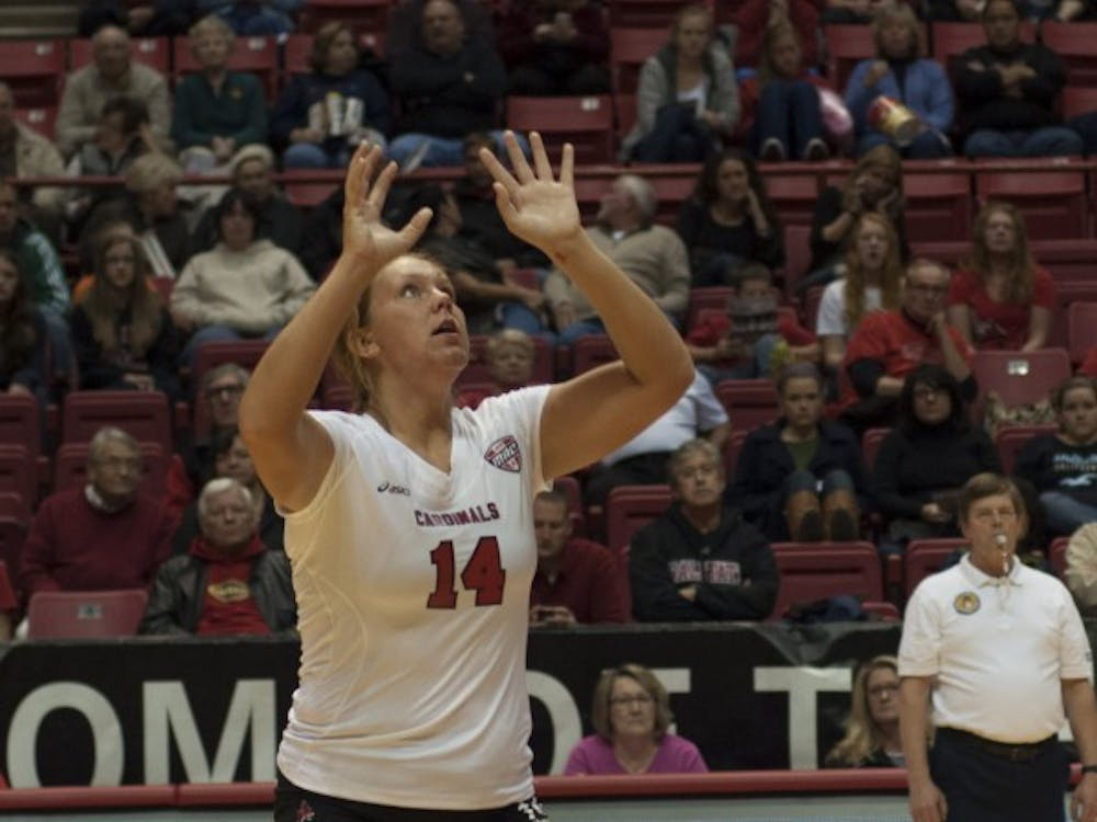 Sophomore middle hitter Kelly Hopkins prepares to set the ball against Bowling Green State University on Oct. 25 at Worthen Arena. Hopkins had two digs in the match. DN PHOTO MATT McKINNEY