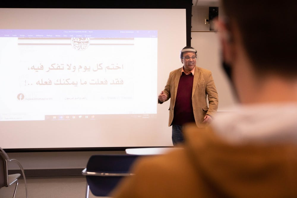 <p>Abdelaadim Bidaoui, assistant professor of Arabic and French, teaches Arabic 202 March 24, 2021, in the Applied Technology building. The new program has five students enrolled so far, and Bidaoui hopes new students will join. <strong>Jaden Whiteman, DN</strong></p>