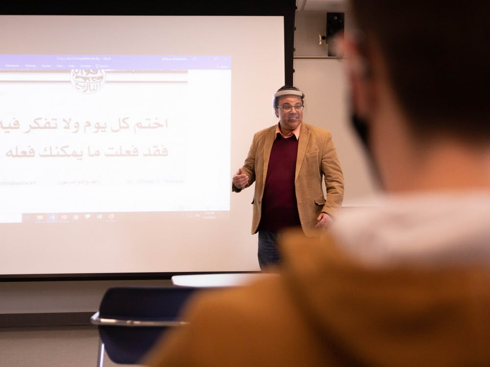 Abdelaadim Bidaoui, assistant professor of Arabic and French, teaches Arabic 202 March 24, 2021, in the Applied Technology building. The new program has five students enrolled so far, and Bidaoui hopes new students will join. Jaden Whiteman, DN