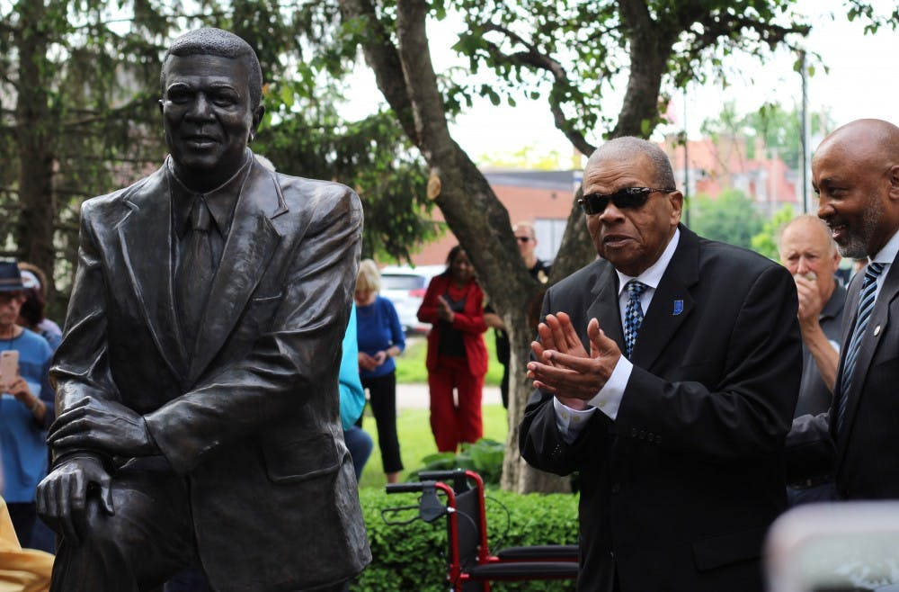 Hurley Goodall applauds at his statue dedication ceremony May 23, 2019, at Cornerstone Park. Goodall is a former Indiana state representative, former Muncie Community Schools Board member, veteran and one of the first African-American firefighters in the Muncie Fire Department. Britney S. Kendrick, DN