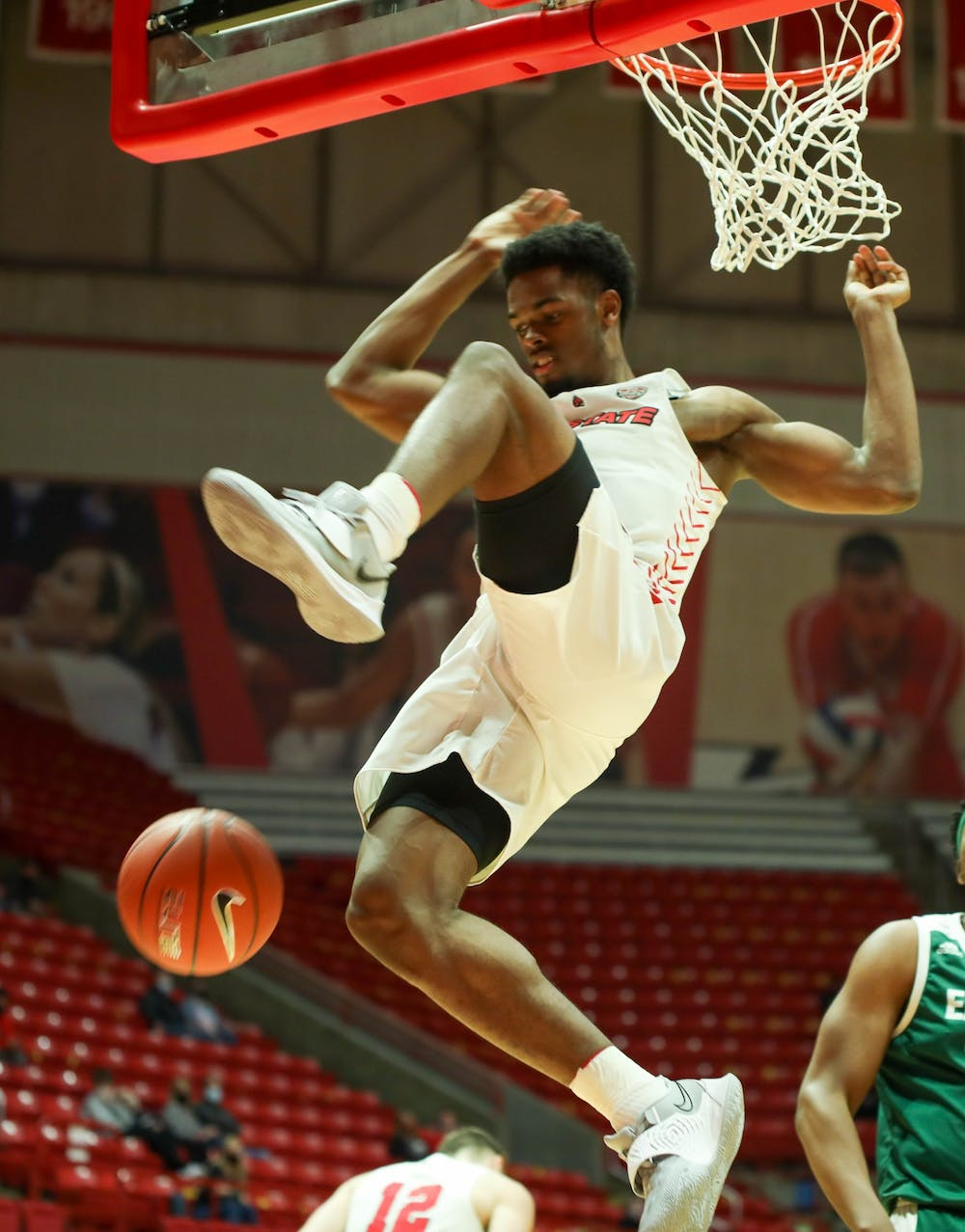 <p>Redshirt fifth year guard K.J. Walton dunks the ball March 2, 2021, in John E. Worthen Arena.  Ball State beat the Eastern Michigan Eagles 100-65. <strong>Jaden Whiteman, DN</strong></p>
