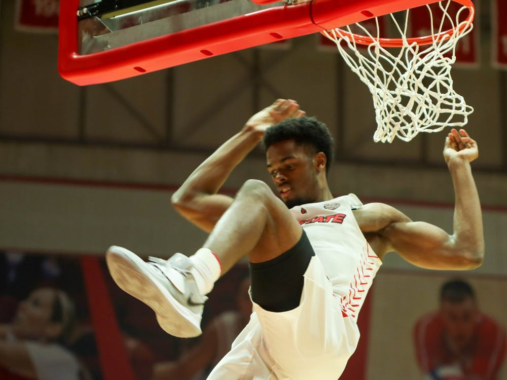 Redshirt fifth year guard K.J. Walton dunks the ball March 2, 2021, in John E. Worthen Arena.  Ball State beat the Eastern Michigan Eagles 100-65. Jaden Whiteman, DN