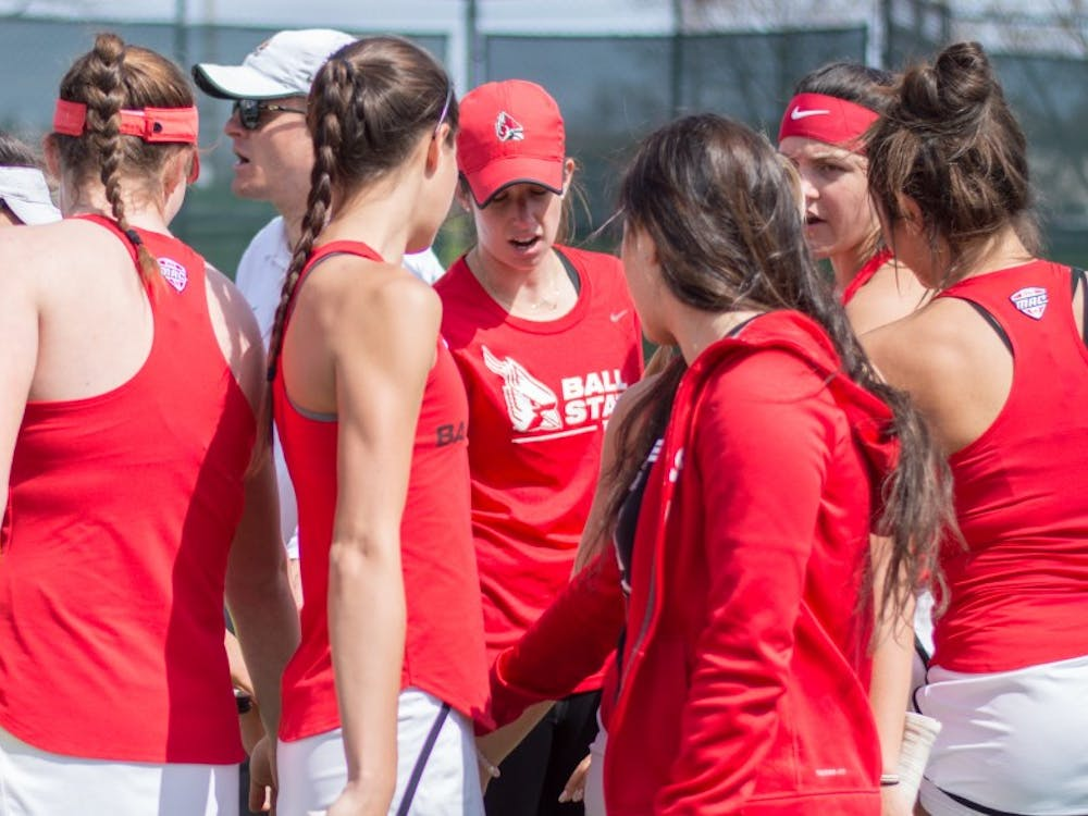 The Ball State women's wennis team faced off against Buffalo on April 2 at the Cardinal Creek Tennis Center. After winning doubles point, the Cardianls went on to defeat the Bulls 5-2. Terence K. Lightning Jr. // DN