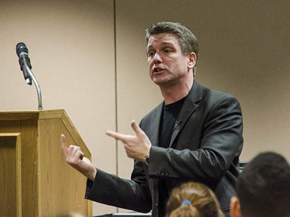 """Chris Westfall talks about the importance of the """"so what"""" in a pitch Feb. 9 at the L.A. Pittenger Student Center. Westfall is the crowned National Elevator Champion and offered students an insight into better marketing themselves and their ideas. DN PHOTO COREY OHLENKAMP"""