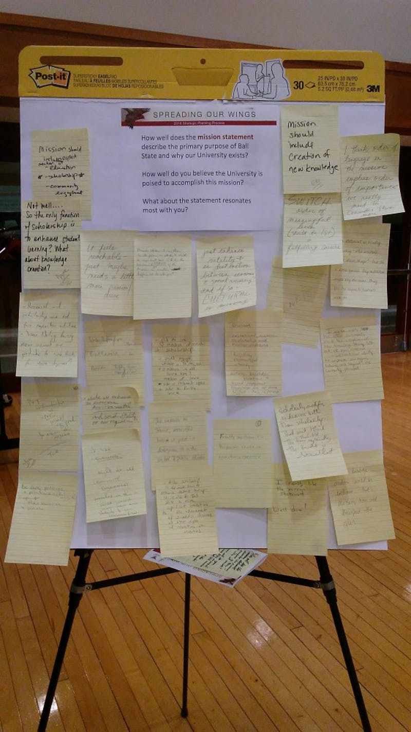 A board displaying comments and concerns from faculty members at the second strategic plan open forum Friday, Oct. 12, in the L.A. Pittenger Student Center Ballroom. Ball State President Geoffrey Mearns said the committee has received 400 survey responses from faculty regarding the plan. Charles Melton, DN