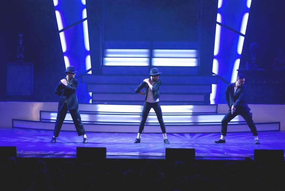 Dancers perform a Michael Jackson tribute to the song