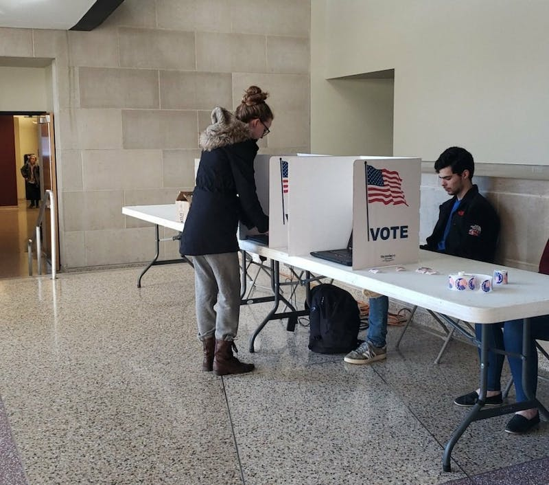 A student votes for Ball State's 2019 SGA election Feb. 25, 2019, in the lobby of the Letterman building. Voter turnout for Ball State 2019 Student Government Association (SGA) election was 198 students less than 2017's SGA election when two slates ran. Scott Fleener, DN