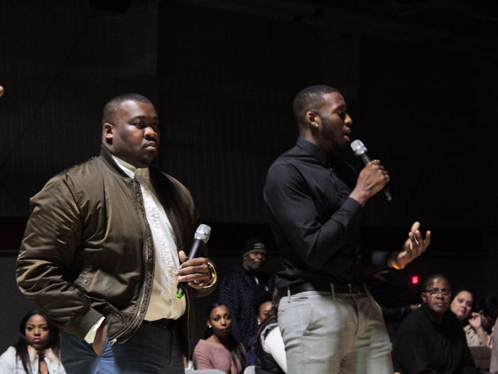 """Junior urban planning major Josh Sims and Ball State alumnus Nate Robert-Eze featured their new clothing collection in their fashion show """"Unity in the Jungle."""" Sims and Robert-Eze's brand is based around unity. Larry Luellen, Photo Provided"""