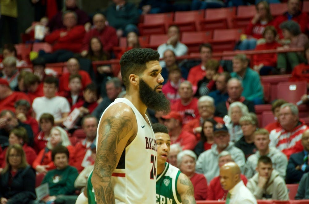 <p>Senior center Trey Moses prepares to shoot a free throw in a game versus Eastern Michigan Jan. 8, 2019, at Worthen Arena. Moses scored his 1,000th point early in the game. <strong>Jack Williams,DN</strong></p>
