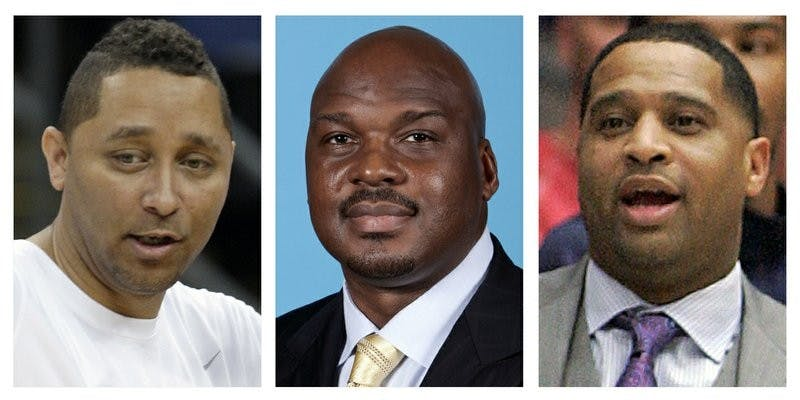 These file photos show, assistant basketball coaches Tony Bland, left, Chuck Person, center, and Lamont Richardson. The three, along with assistant coach Lamont Evans of Oklahoma State, were identified in court papers and are among 10 people facing federal charges in Manhattan federal court, Tuesday, Sept. 26, 2017, in a wide probe of fraud and corruption in the NCAA, authorities said. AP Photo