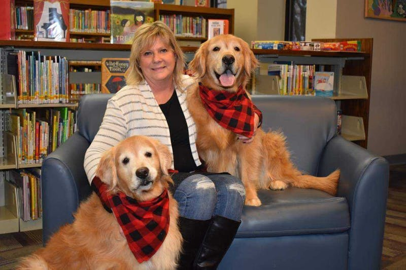 """Cindie Hudson sits with her therapy dogs, Harlee and Seger, at the Kokomo-Howard County Public Library. Hudson recently published a children's book called """"Yellow Dog"""" in an effort to encourage children to read. Cindie Hudson, Photo Provided"""