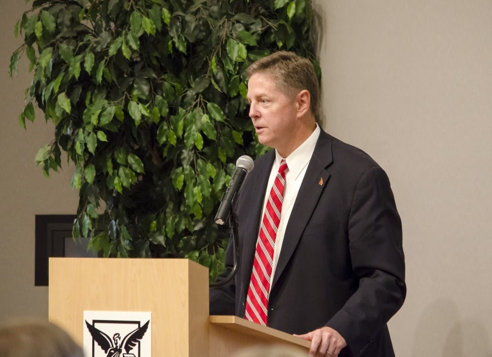Athletic Director Bill Scholl speaks at a memorial service Sept. 30. Scholl, who has been the AD at Ball State since 2012, will be leaving the university for an AD job at Marquette. DN FILE PHOTO OHLENKAMP