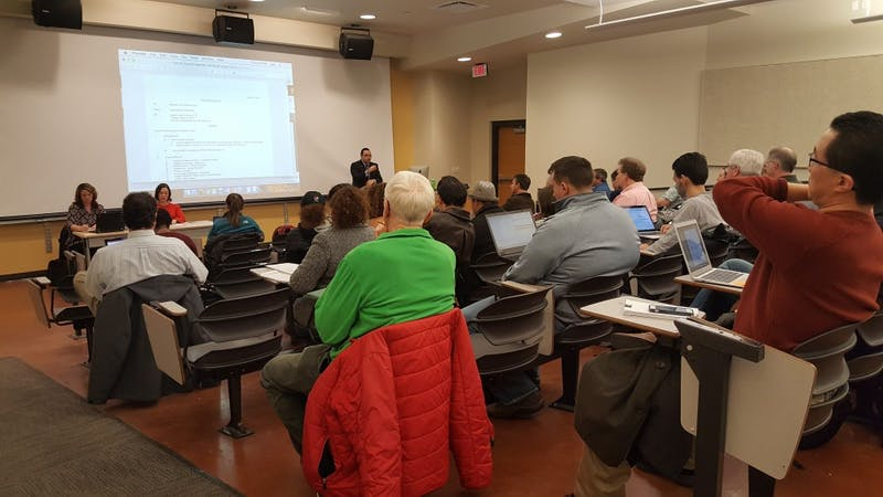 Members of faculty council reconvene for the first meeting of 2018 in the David Letterman Communication and Media Building room 125. Sara Barker, DN