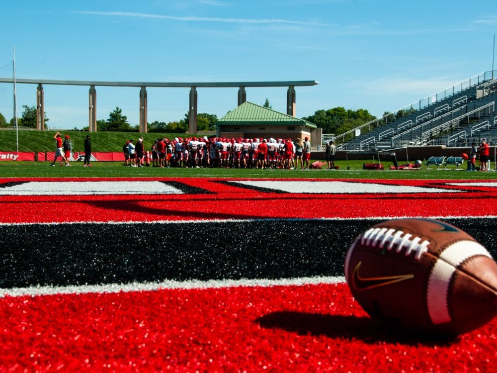 The Ball State football team practices Tuesday, Sept. 4, 2018 at Scheumann Stadium, before competing against the University of Notre Dame in South Bend on Saturday. This will be the first time the schools face each other in MAC history. Madeline Grosh, DN