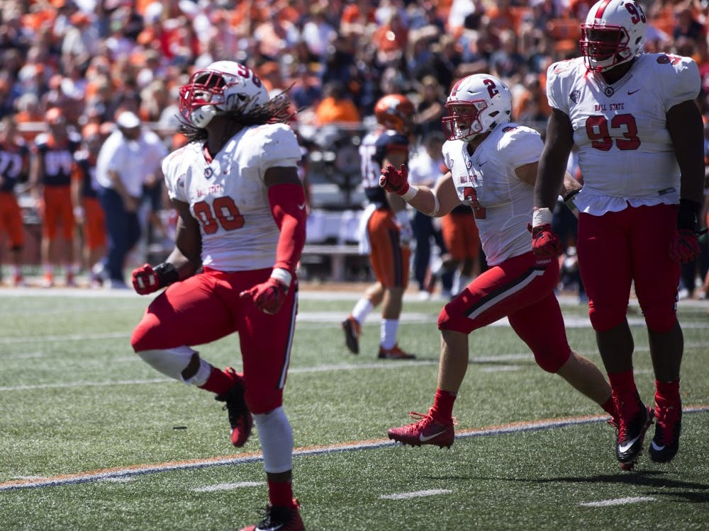 Ball State defensive end Anthony Winbush celebrates after back-to-back sacks against the University of Illinois on Sept. 2, 2017. Winbush also had seven tackles during the Caridnals 24-21 loss. Robby General, DN