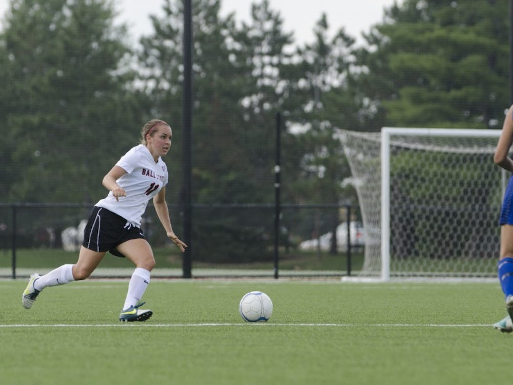 Freshman midfielder Shannon Greeley runs after the ball during the soccer game against Moorehead State on Aug. 31 at the Briner Sports Complex. DN PHOTO BREANNA DAUGHERTY