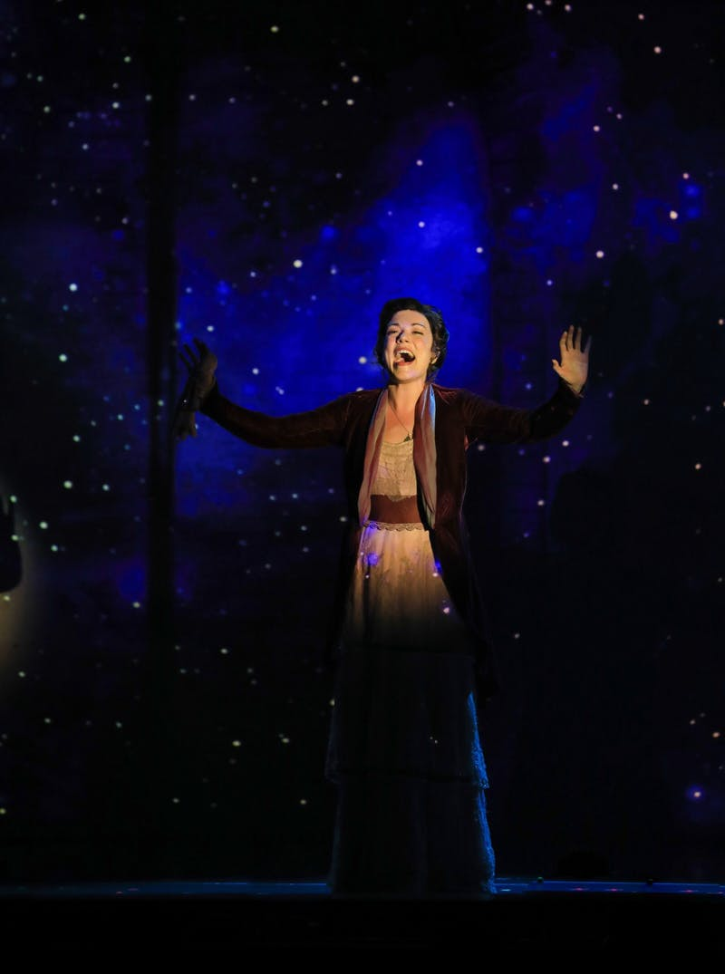 "Actress Josephine Cooper performs the song ""All That Matters"" as her character, Sylvia Llewelyn Davies, during the Broadway Musical ""Finding Neverland."" The company will continue its national tour until its last performance April 12, 2020. Denise Trupe, Photo Provided"
