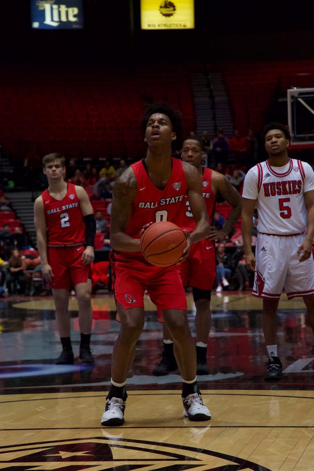 Redshirt sophomore guard Miryne Thomas prepares to shoot a free-throw in a game against Northern Illinois on March 6 at the Convocation Center. The Cardinals defeated the Huskies 75-54. Jack Williams, DN